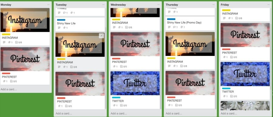 Social Media Schedule using Trello