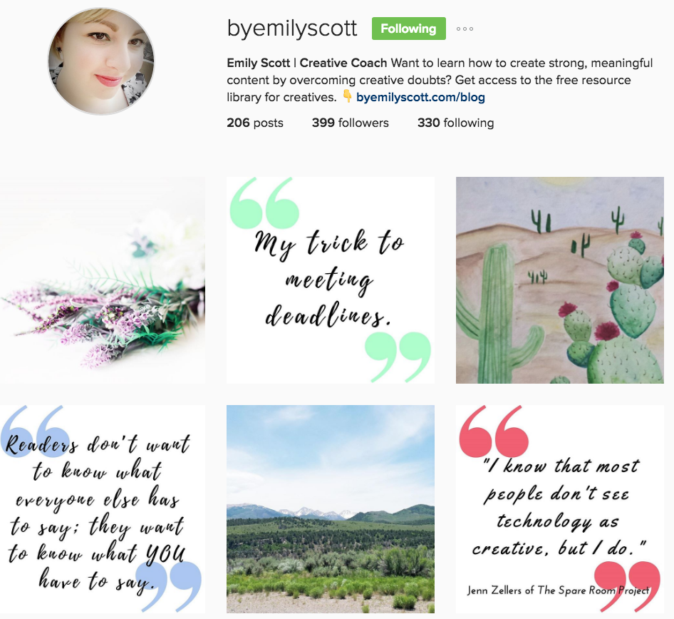 Emily Scott Creative Coach Instagram Profile