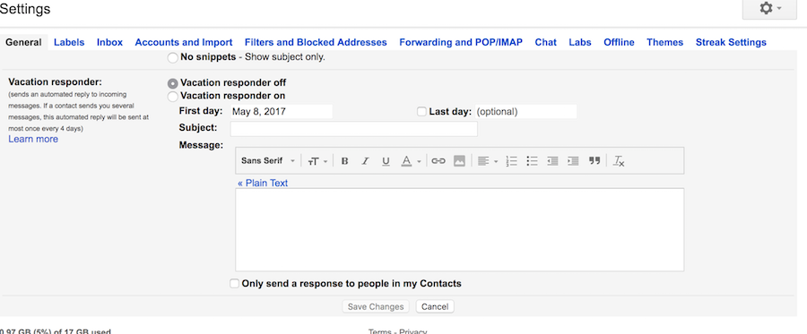 Out of Office Gmail Setting