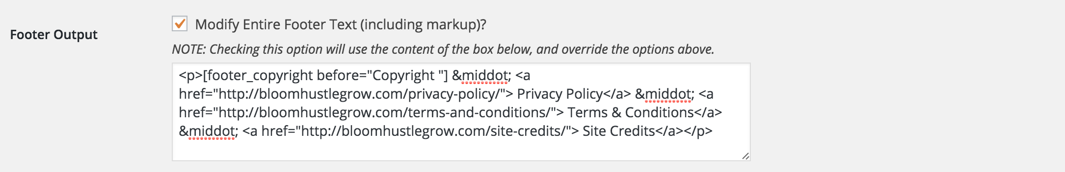 How to edit the footer in Genesis to add in a privacy policy