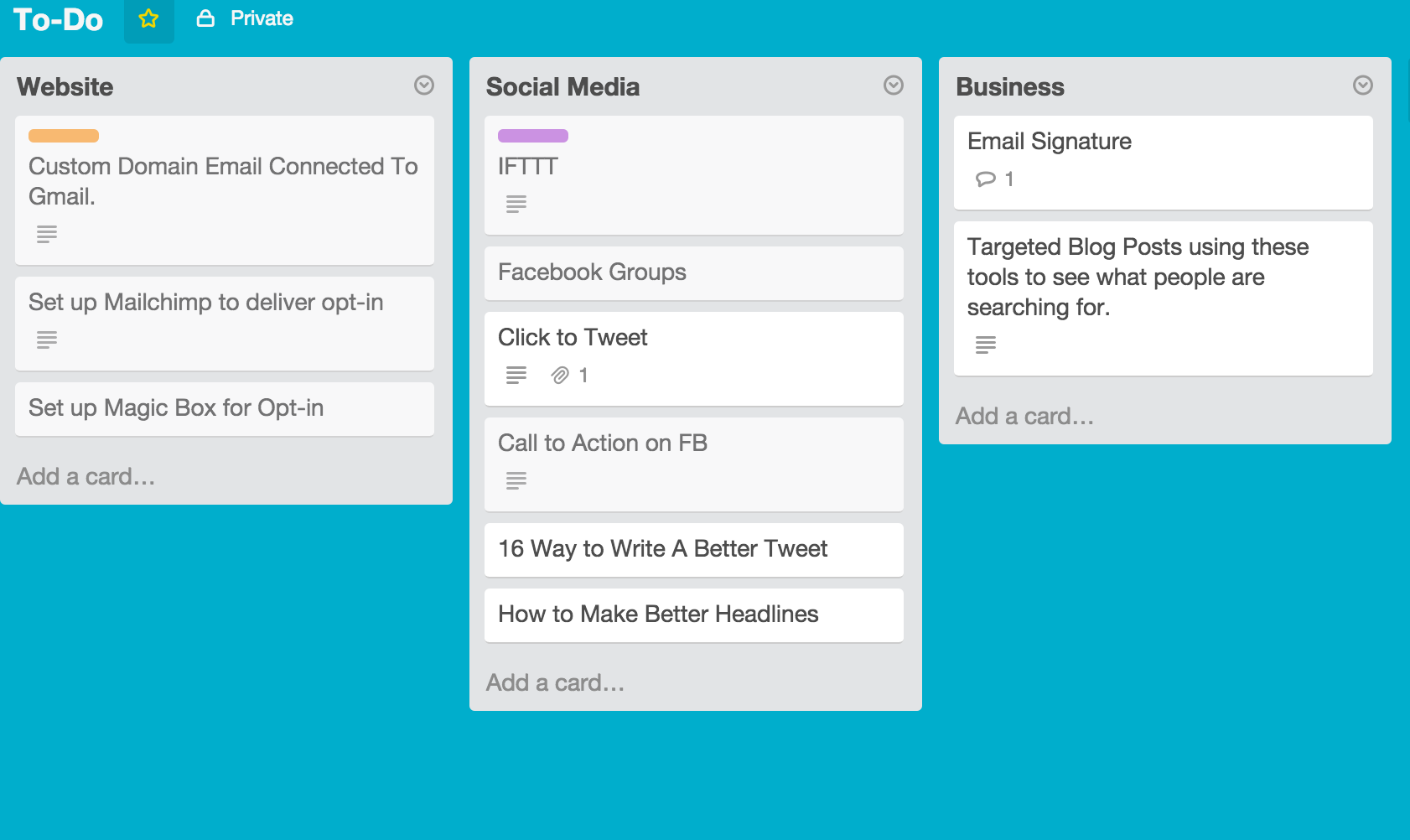 Using List to Categorize Tasks in Trello
