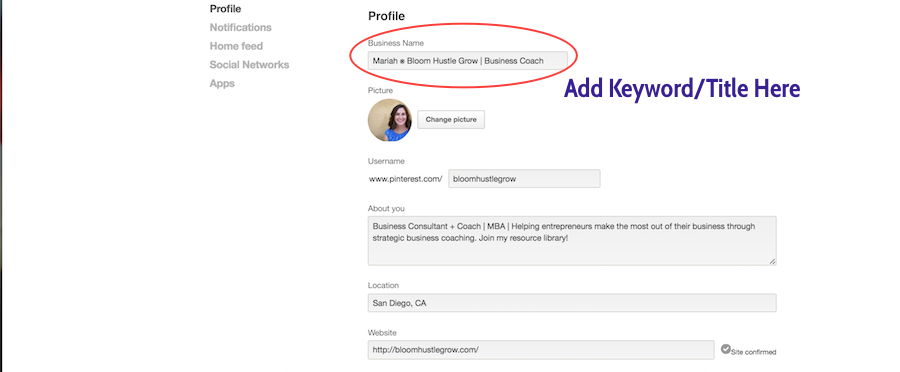 Change Your Business Name To Include Keywords Under Profile