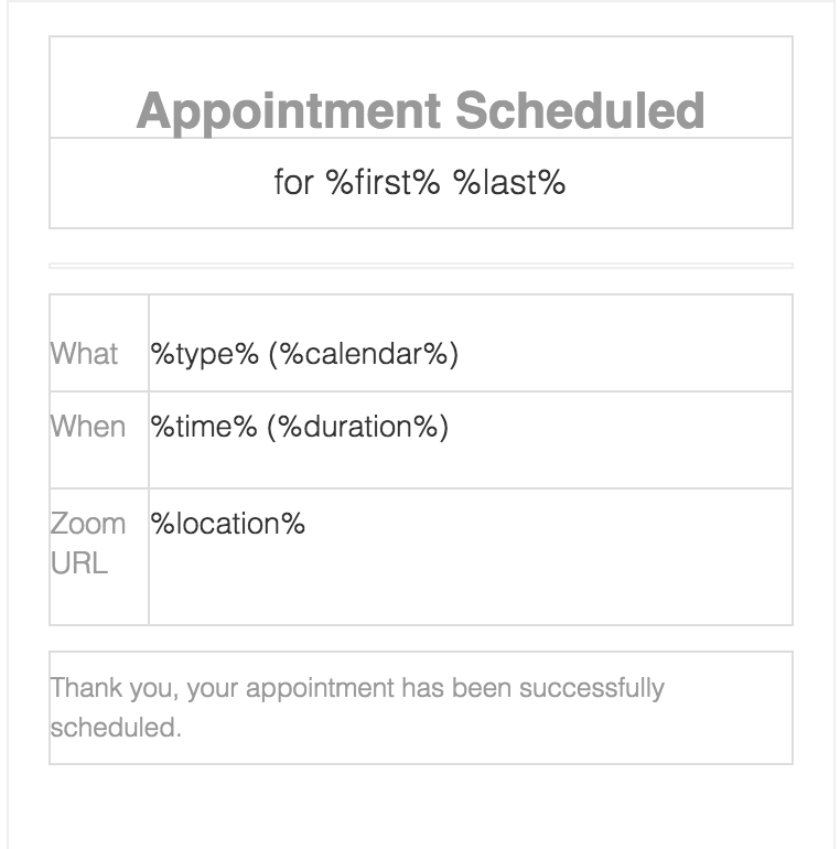Appointment Confirmation