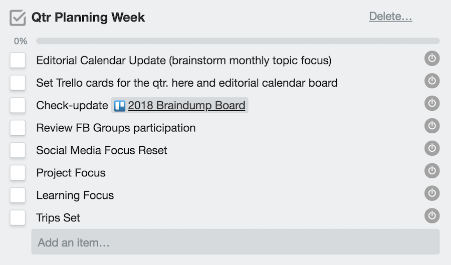 Qtr. Planning Week Checklist