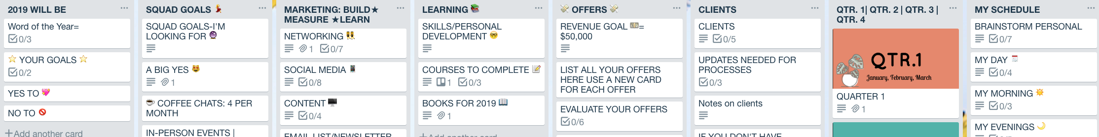 Plan Your Year With Trello Board